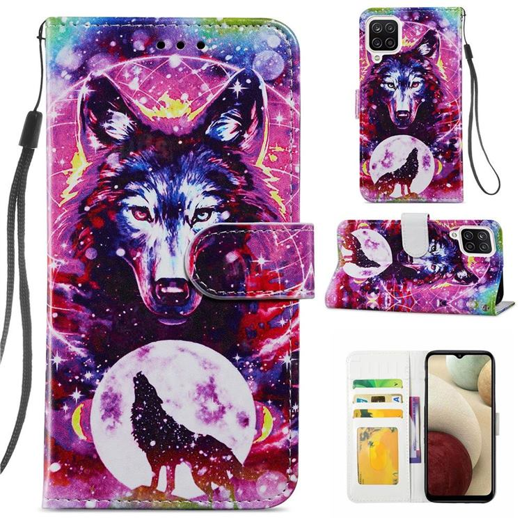 Wolf Totem Smooth Leather Phone Wallet Case for Samsung Galaxy A12