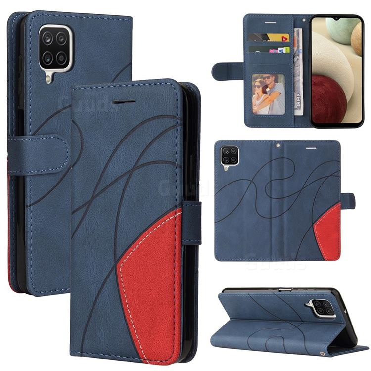 Luxury Two-color Stitching Leather Wallet Case Cover for Samsung Galaxy A12 - Blue