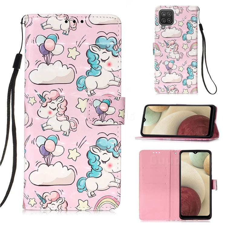 Angel Pony 3D Painted Leather Wallet Case for Samsung Galaxy A12