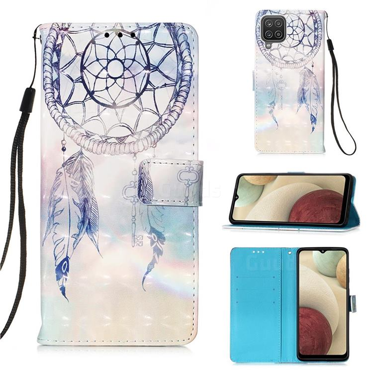 Fantasy Campanula 3D Painted Leather Wallet Case for Samsung Galaxy A12