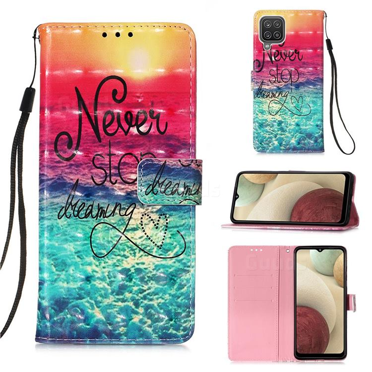 Colorful Dream Catcher 3D Painted Leather Wallet Case for Samsung Galaxy A12