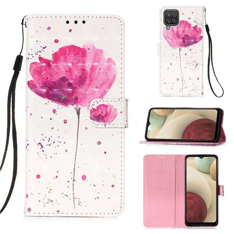 Watercolor 3D Painted Leather Wallet Case for Samsung Galaxy A12