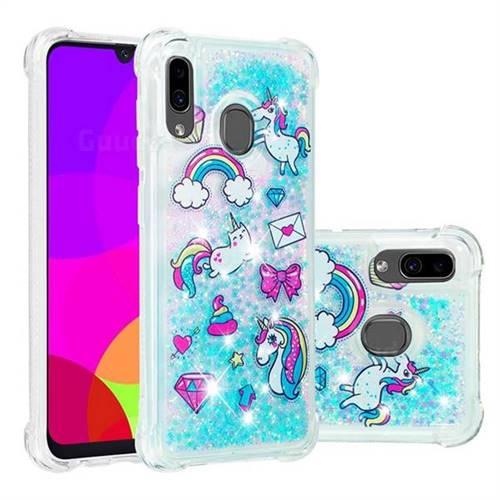 Fashion Unicorn Dynamic Liquid Glitter Sand Quicksand Star TPU Case for Samsung Galaxy A20
