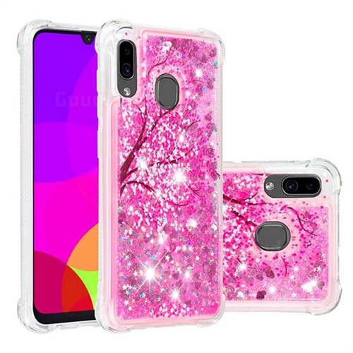 Pink Cherry Blossom Dynamic Liquid Glitter Sand Quicksand Star TPU Case for Samsung Galaxy A20