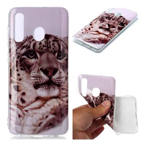 White Leopard Soft TPU Cell Phone Back Cover for Samsung Galaxy A20
