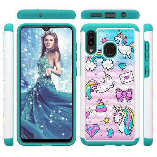 Fashion Unicorn Studded Rhinestone Bling Diamond Shock Absorbing Hybrid Defender Rugged Phone Case Cover for Samsung Galaxy A20