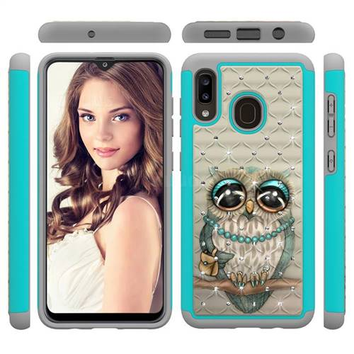 Sweet Gray Owl Studded Rhinestone Bling Diamond Shock Absorbing Hybrid Defender Rugged Phone Case Cover for Samsung Galaxy A20