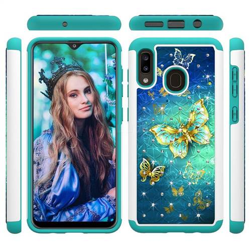 Gold Butterfly Studded Rhinestone Bling Diamond Shock Absorbing Hybrid Defender Rugged Phone Case Cover for Samsung Galaxy A20