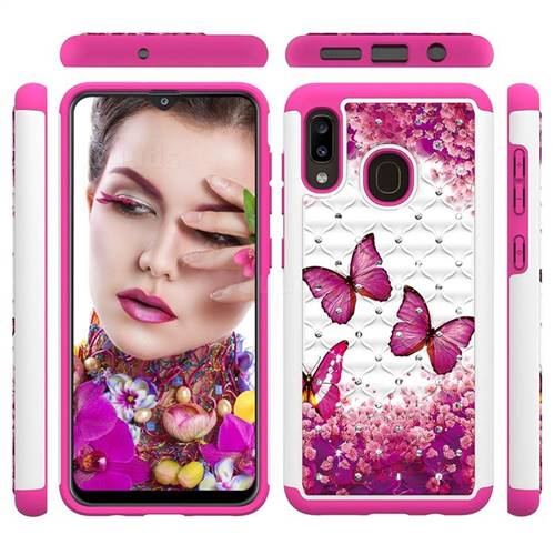 Rose Butterfly Studded Rhinestone Bling Diamond Shock Absorbing Hybrid Defender Rugged Phone Case Cover for Samsung Galaxy A20