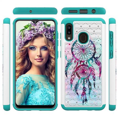 Color Drops Wind Chimes Studded Rhinestone Bling Diamond Shock Absorbing Hybrid Defender Rugged Phone Case Cover for Samsung Galaxy A20