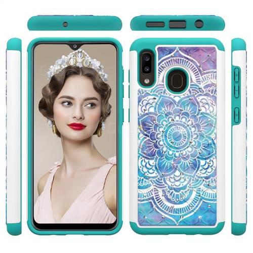 Mandala Studded Rhinestone Bling Diamond Shock Absorbing Hybrid Defender Rugged Phone Case Cover for Samsung Galaxy A20