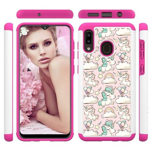 Pink Pony Shock Absorbing Hybrid Defender Rugged Phone Case Cover for Samsung Galaxy A20