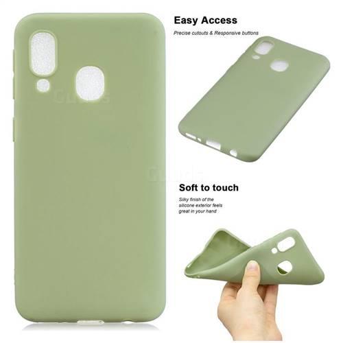 Soft Matte Silicone Phone Cover for Samsung Galaxy A20 - Bean Green