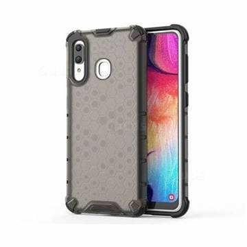Honeycomb TPU + PC Hybrid Armor Shockproof Case Cover for Samsung Galaxy A20 - Gray