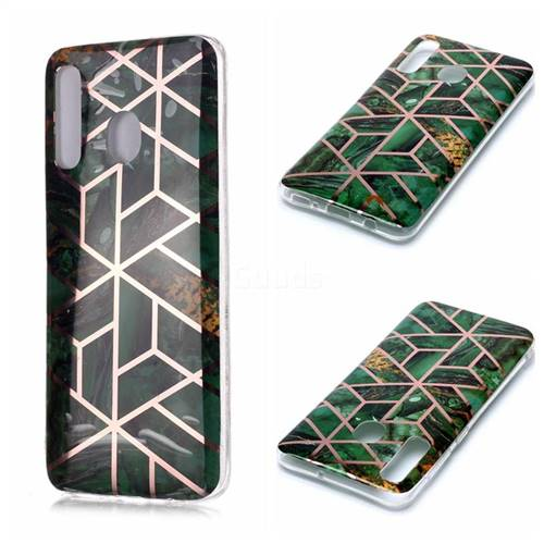 Green Rhombus Galvanized Rose Gold Marble Phone Back Cover for Samsung Galaxy A20