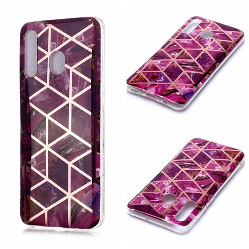 Purple Rhombus Galvanized Rose Gold Marble Phone Back Cover for Samsung Galaxy A20