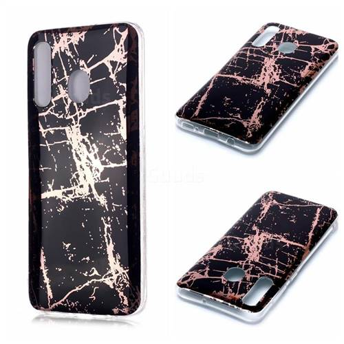 Black Galvanized Rose Gold Marble Phone Back Cover for Samsung Galaxy A20