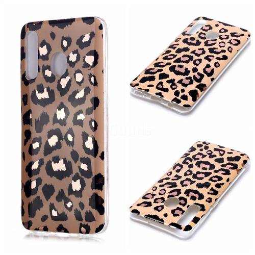 Leopard Galvanized Rose Gold Marble Phone Back Cover for Samsung Galaxy A20