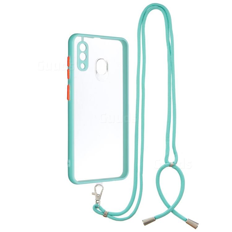 Necklace Cross-body Lanyard Strap Cord Phone Case Cover for Samsung Galaxy A20 - Blue