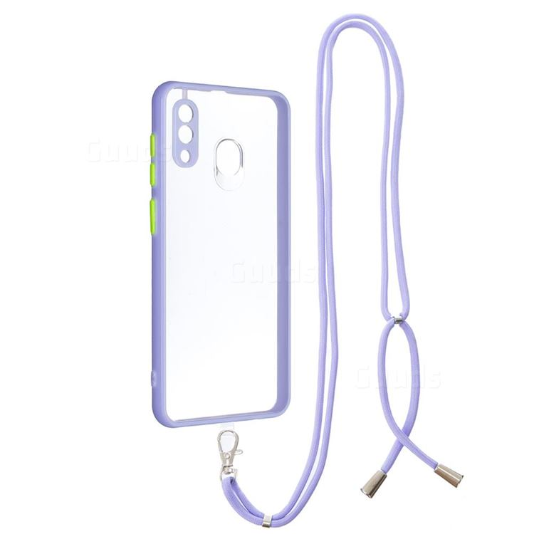 Necklace Cross-body Lanyard Strap Cord Phone Case Cover for Samsung Galaxy A20 - Purple