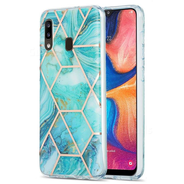 Blue Sea Marble Pattern Galvanized Electroplating Protective Case Cover for Samsung Galaxy A20