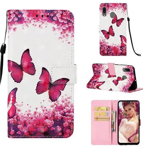 Rose Butterfly 3D Painted Leather Wallet Case for Samsung Galaxy A20
