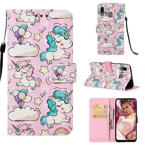 Angel Pony 3D Painted Leather Wallet Case for Samsung Galaxy A20