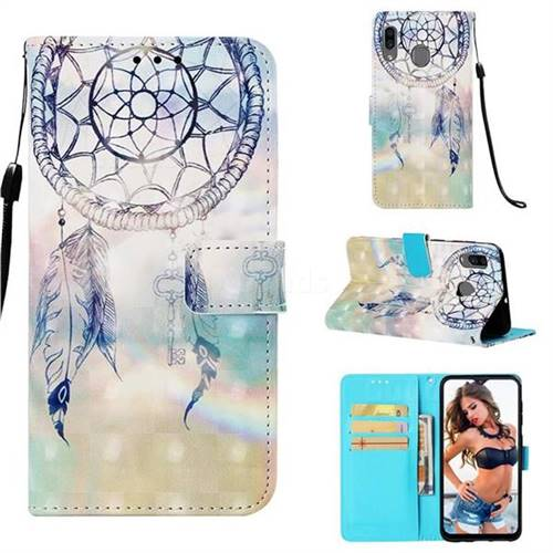 Fantasy Campanula 3D Painted Leather Wallet Case for Samsung Galaxy A20