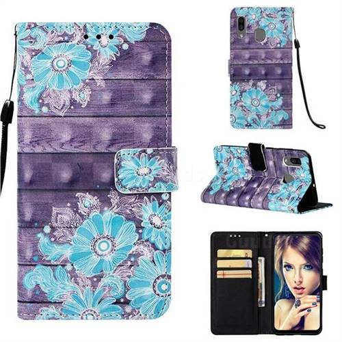 Blue Flower 3D Painted Leather Wallet Case for Samsung Galaxy A20