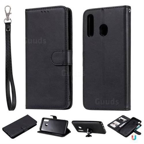 Retro Greek Detachable Magnetic PU Leather Wallet Phone Case for Samsung Galaxy A20 - Black