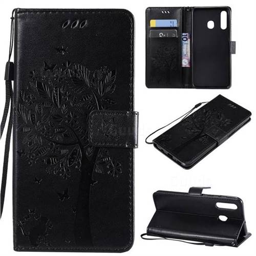 Embossing Butterfly Tree Leather Wallet Case for Samsung Galaxy A20 - Black