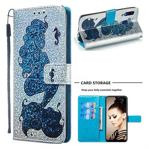 Mermaid Seahorse Sequins Painted Leather Wallet Case for Samsung Galaxy A20