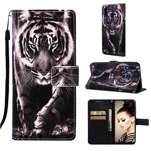Black and White Tiger Matte Leather Wallet Phone Case for Samsung Galaxy A20
