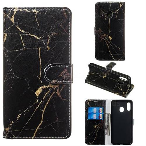Black Gold Marble PU Leather Wallet Case for Samsung Galaxy A20