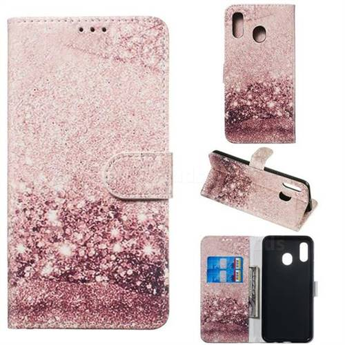 Glittering Rose Gold PU Leather Wallet Case for Samsung Galaxy A20