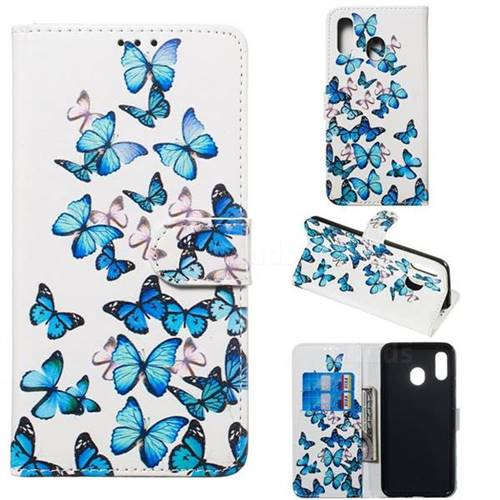 Blue Vivid Butterflies PU Leather Wallet Case for Samsung Galaxy A20