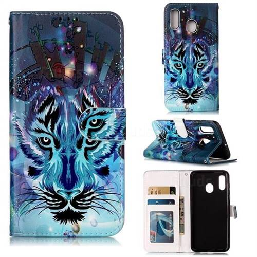 Ice Wolf 3D Relief Oil PU Leather Wallet Case for Samsung Galaxy A20