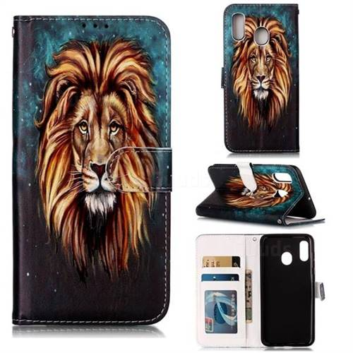 Ice Lion 3D Relief Oil PU Leather Wallet Case for Samsung Galaxy A20