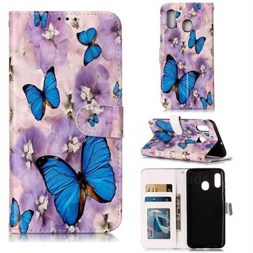 Purple Flowers Butterfly 3D Relief Oil PU Leather Wallet Case for Samsung Galaxy A20