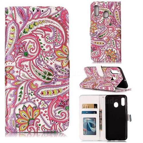 Pepper Flowers 3D Relief Oil PU Leather Wallet Case for Samsung Galaxy A20