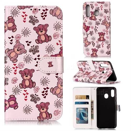 Cute Bear 3D Relief Oil PU Leather Wallet Case for Samsung Galaxy A20