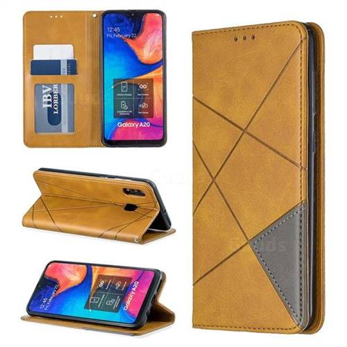 Prismatic Slim Magnetic Sucking Stitching Wallet Flip Cover for Samsung Galaxy A20 - Yellow