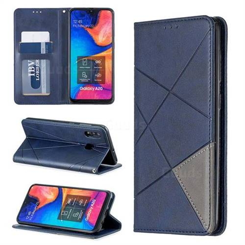 Prismatic Slim Magnetic Sucking Stitching Wallet Flip Cover for Samsung Galaxy A20 - Blue