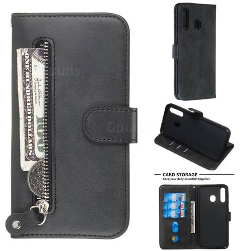 Retro Luxury Zipper Leather Phone Wallet Case for Samsung Galaxy A20 - Black
