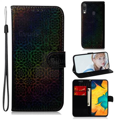 Laser Circle Shining Leather Wallet Phone Case for Samsung Galaxy A20 - Black