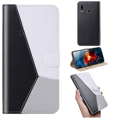 Tricolour Stitching Wallet Flip Cover for Samsung Galaxy A20 - Black