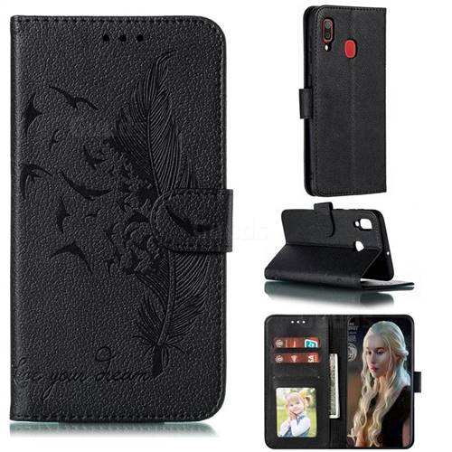 Intricate Embossing Lychee Feather Bird Leather Wallet Case for Samsung Galaxy A20 - Black