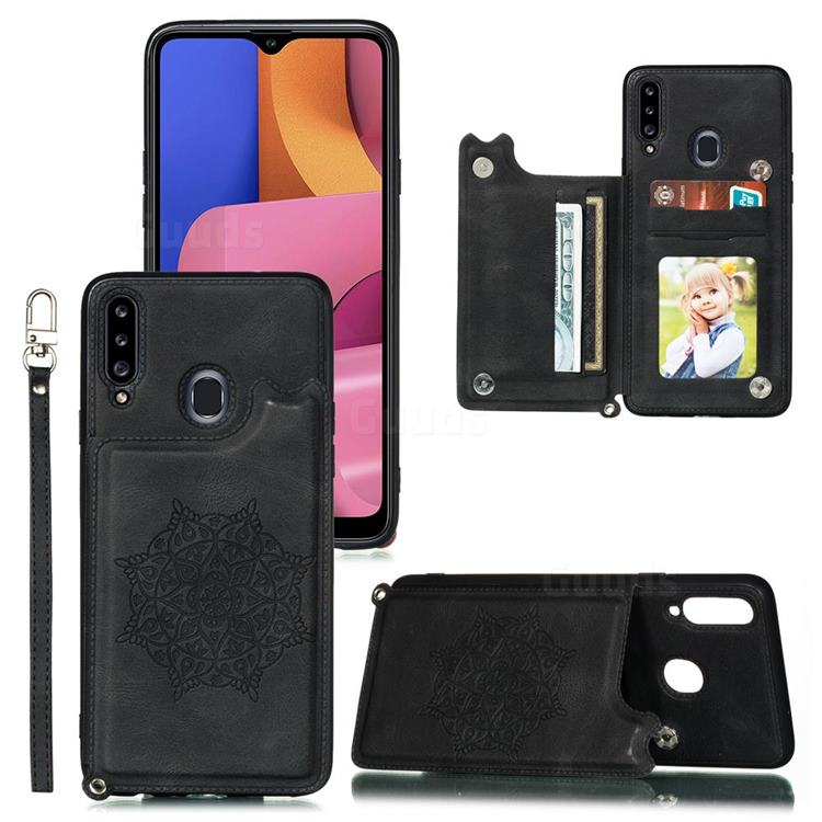 Luxury Mandala Multi-function Magnetic Card Slots Stand Leather Back Cover for Samsung Galaxy A20 - Black