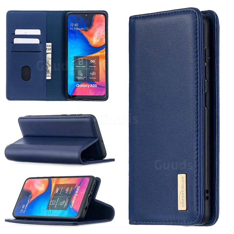 Binfen Color BF06 Luxury Classic Genuine Leather Detachable Magnet Holster Cover for Samsung Galaxy A20 - Blue