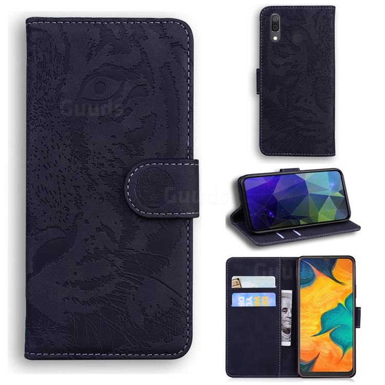 Intricate Embossing Tiger Face Leather Wallet Case for Samsung Galaxy A20 - Black